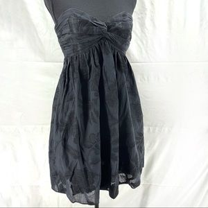 Milly of New York strapless black floral dress 4
